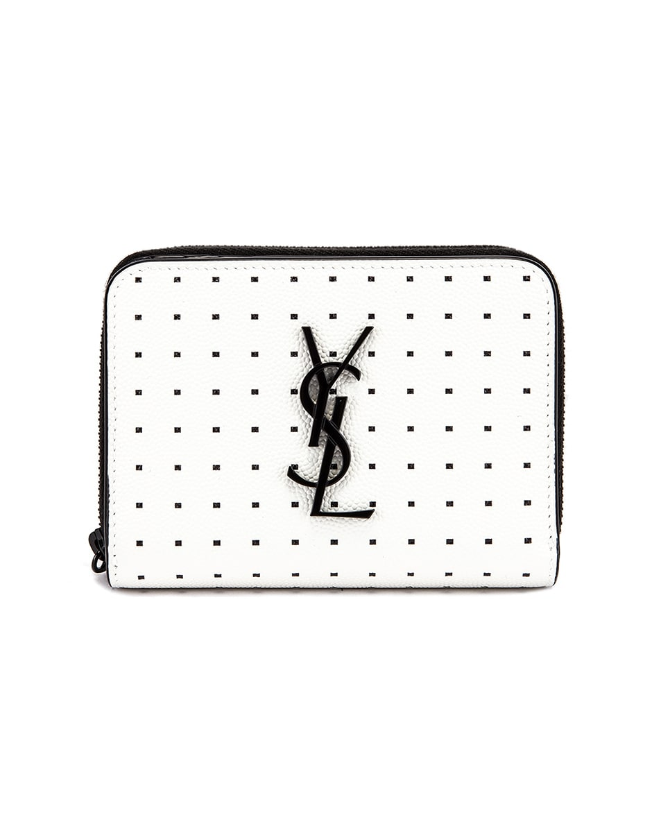 Image 1 of Saint Laurent Monogramme Dot Wallet in White & Black