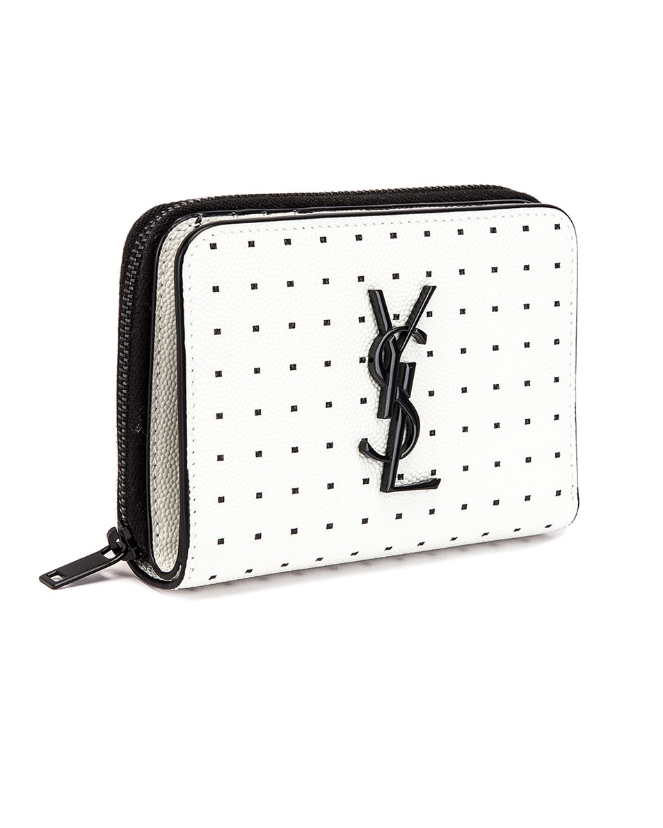 Image 3 of Saint Laurent Monogramme Dot Wallet in White & Black