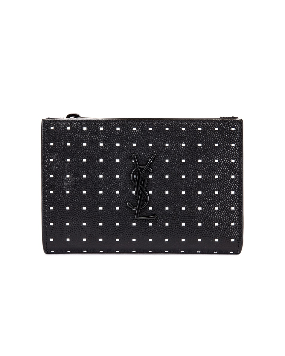 Image 1 of Saint Laurent Monogramme Dot Wallet in Black & White