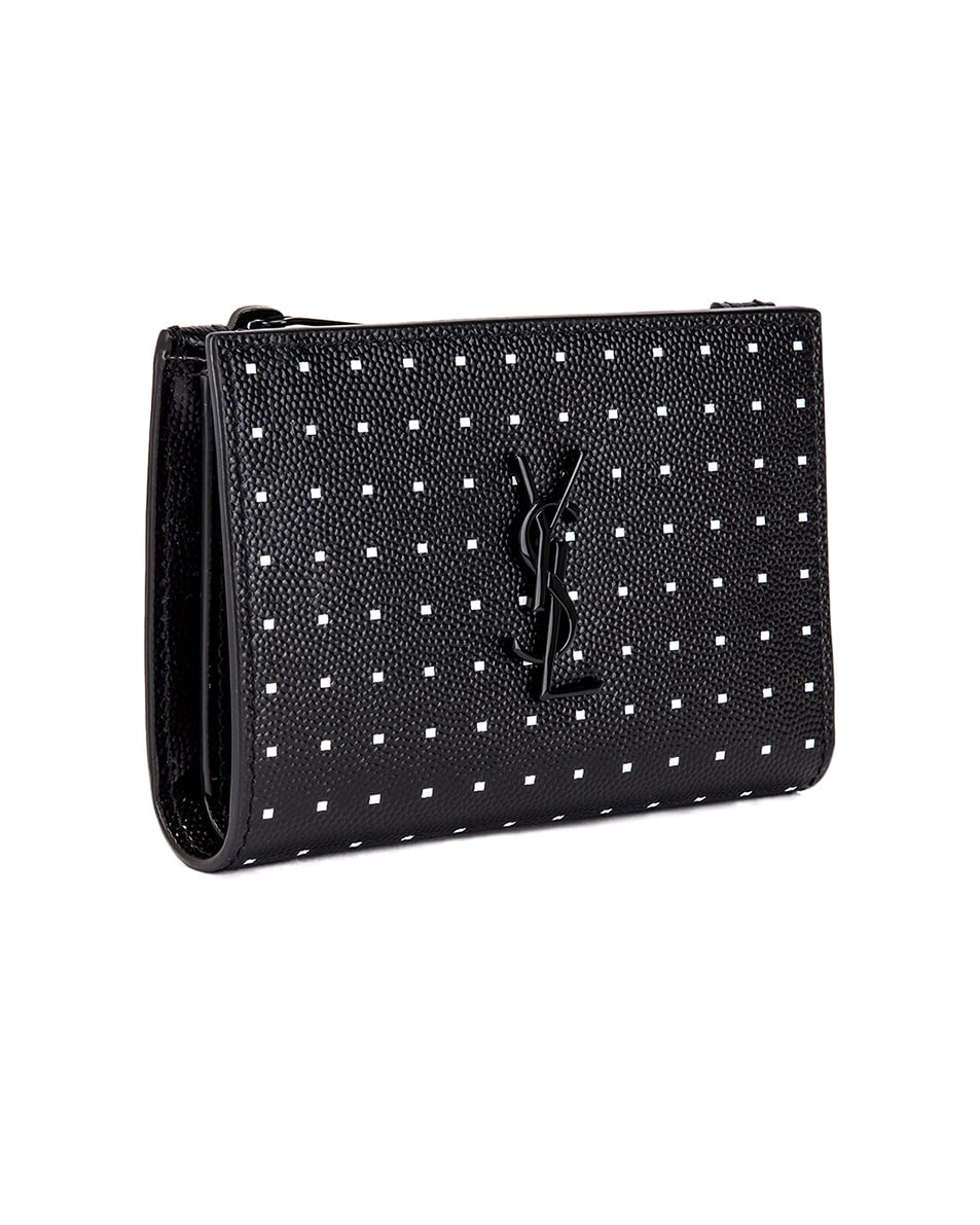 Image 3 of Saint Laurent Monogramme Dot Wallet in Black & White