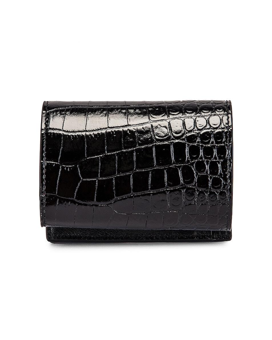 Image 2 of Saint Laurent Croc Wallet in Black & Black