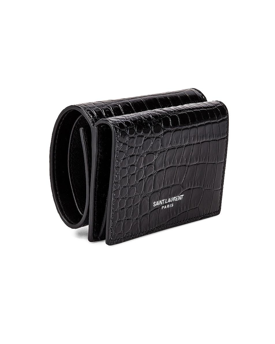 Image 3 of Saint Laurent Croc Wallet in Black & Black