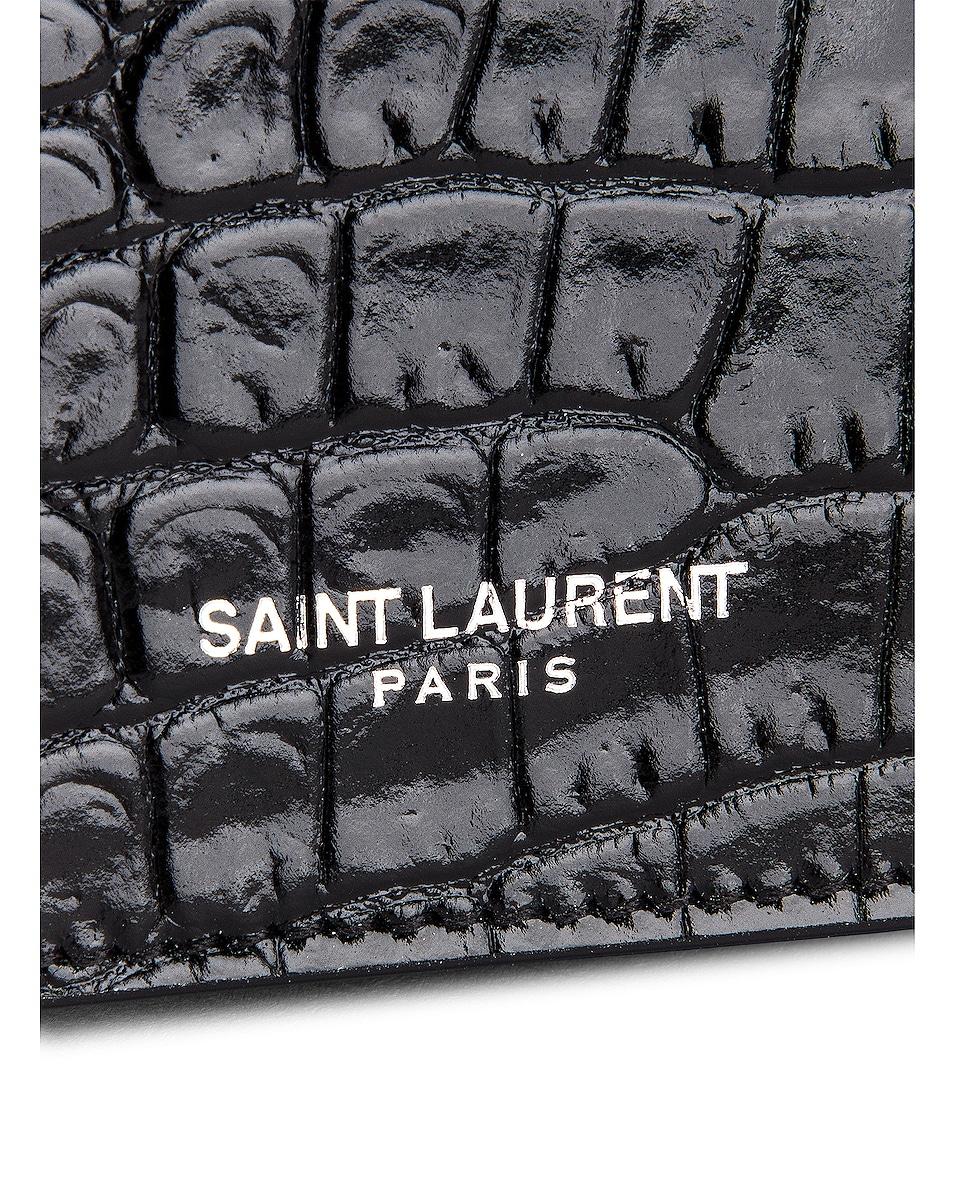 Image 5 of Saint Laurent Croc Wallet in Black & Black