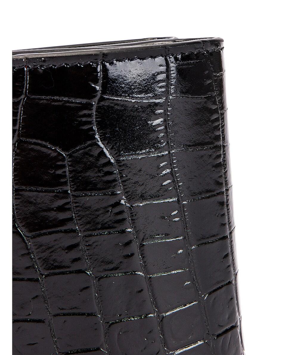 Image 6 of Saint Laurent Croc Wallet in Black & Black