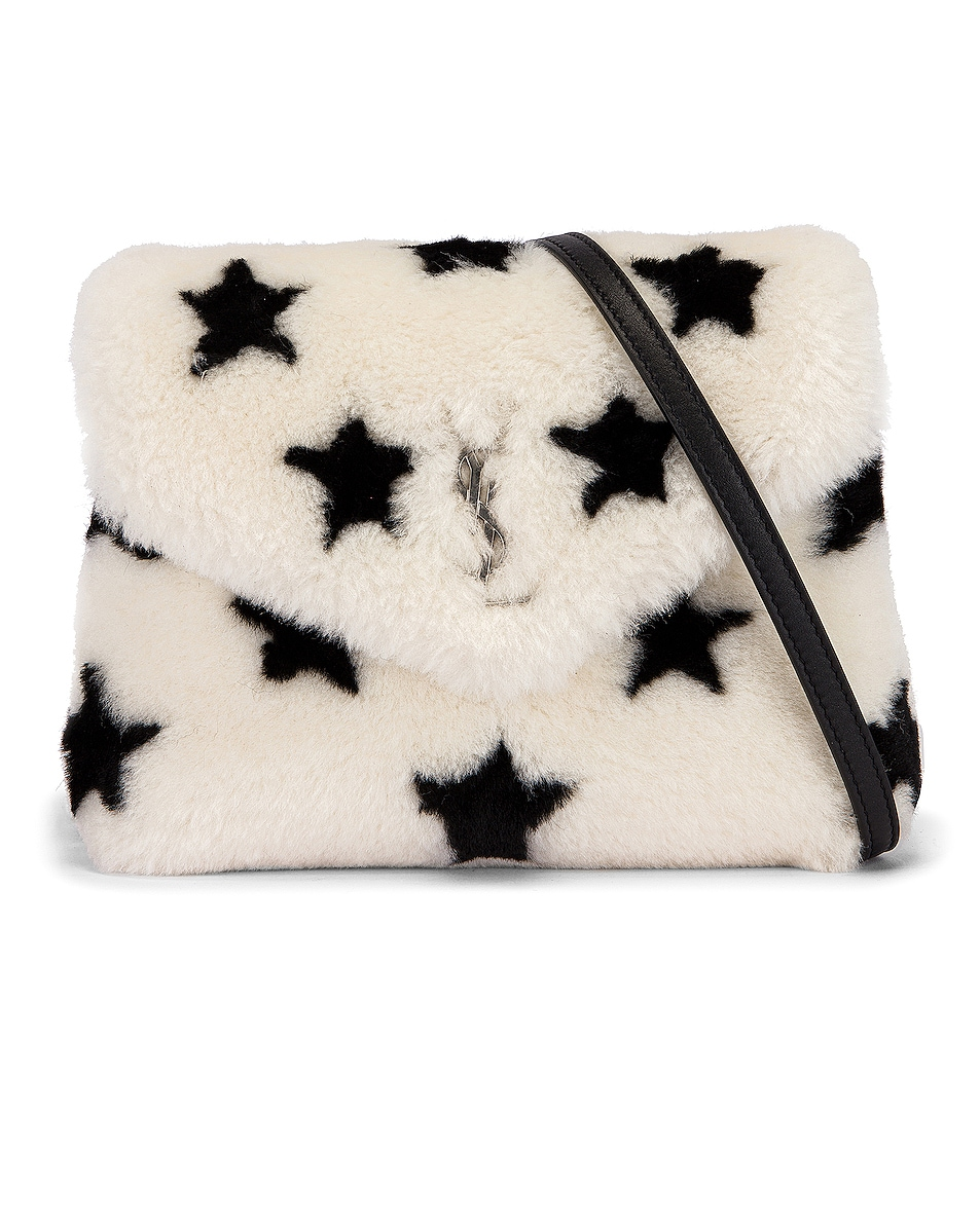 Image 1 of Saint Laurent Toy Loulou Star Shearling Pouch Bag in Natural & Black