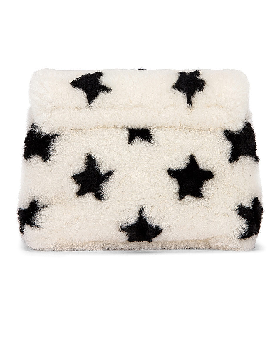 Image 2 of Saint Laurent Toy Loulou Star Shearling Pouch Bag in Natural & Black