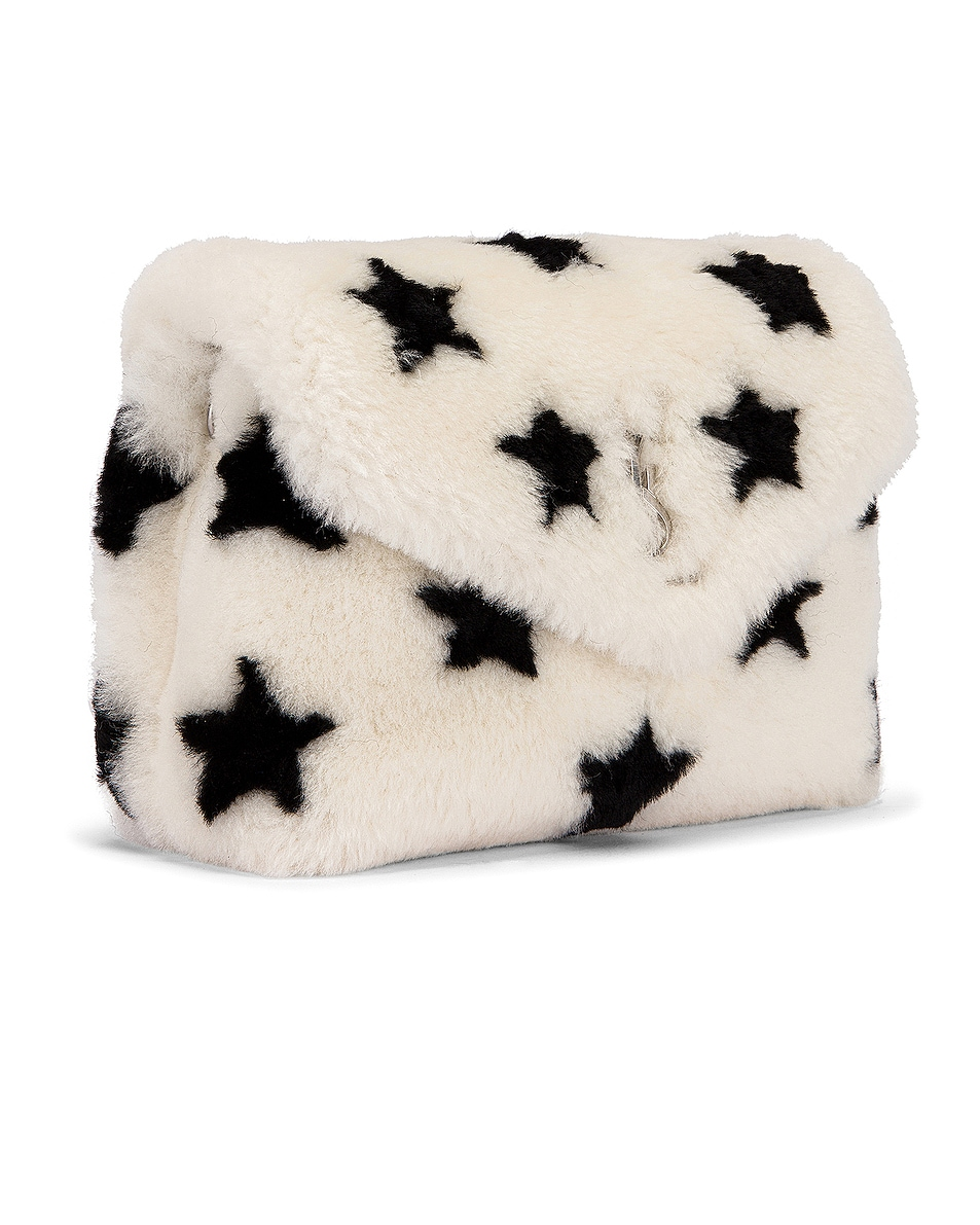 Image 3 of Saint Laurent Toy Loulou Star Shearling Pouch Bag in Natural & Black