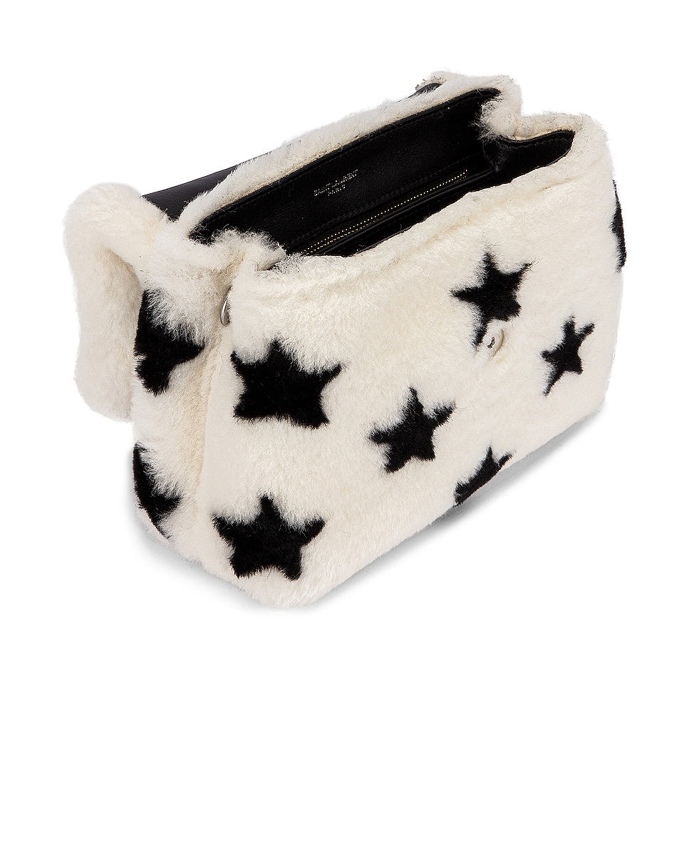 Image 4 of Saint Laurent Toy Loulou Star Shearling Pouch Bag in Natural & Black