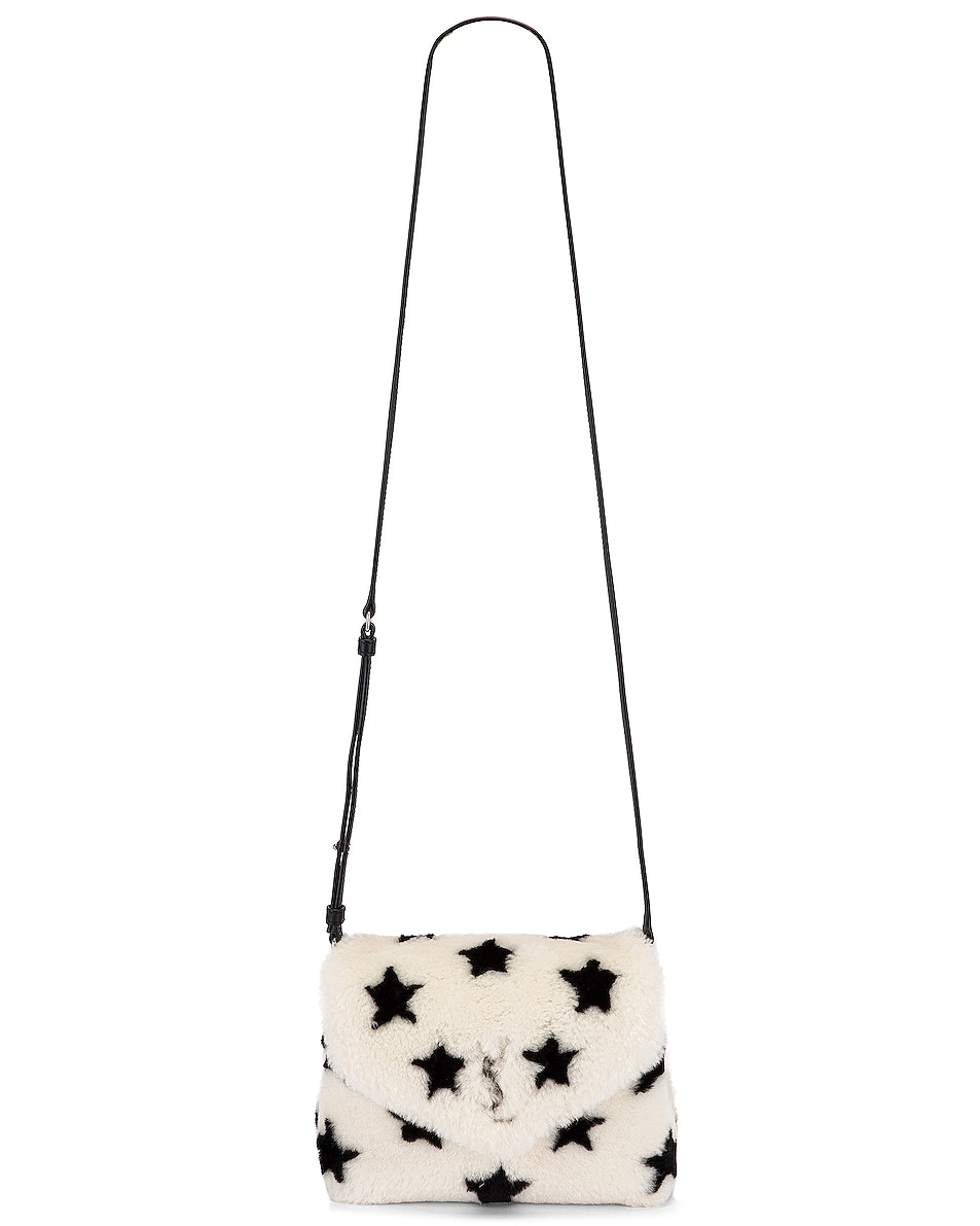 Image 5 of Saint Laurent Toy Loulou Star Shearling Pouch Bag in Natural & Black