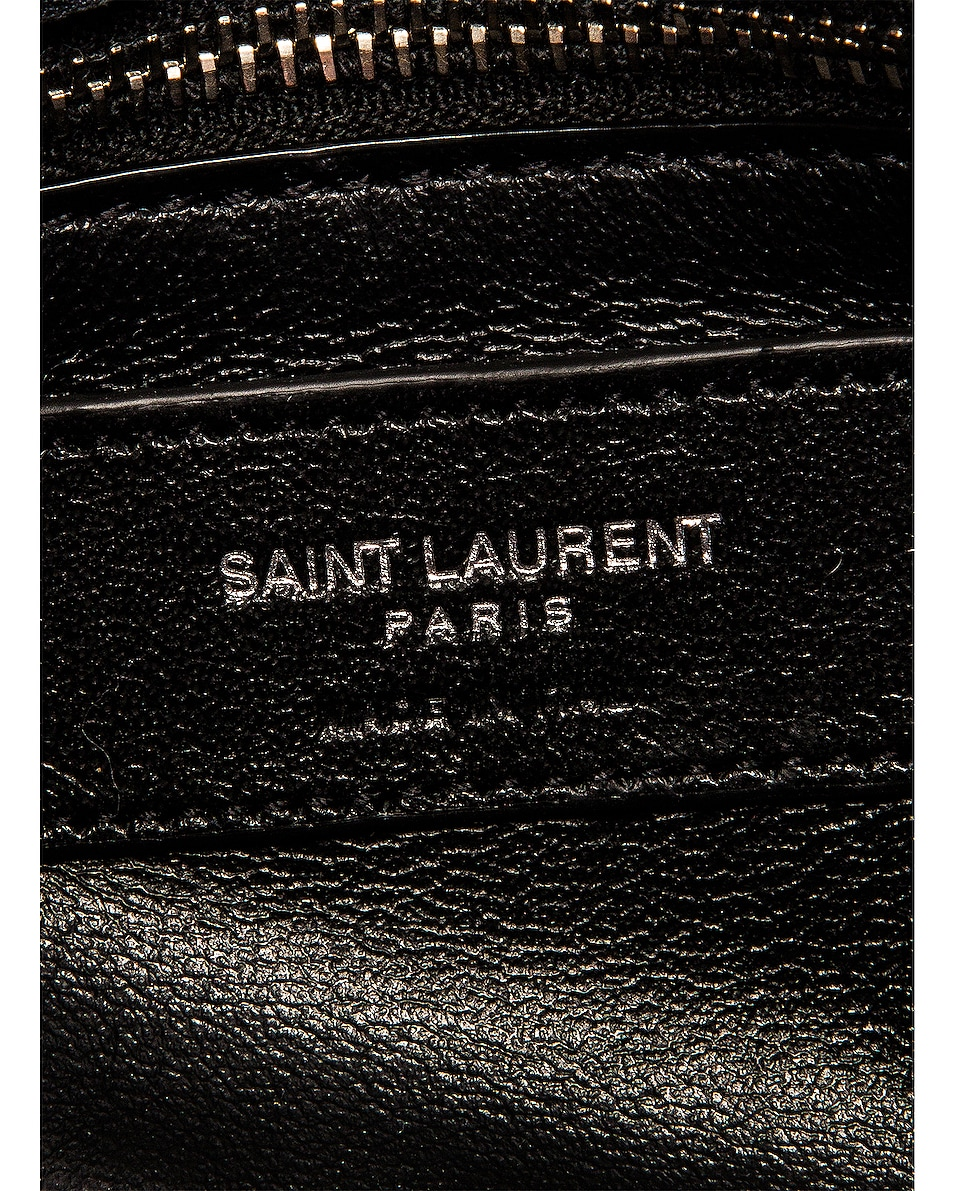 Image 6 of Saint Laurent Toy Loulou Star Shearling Pouch Bag in Natural & Black