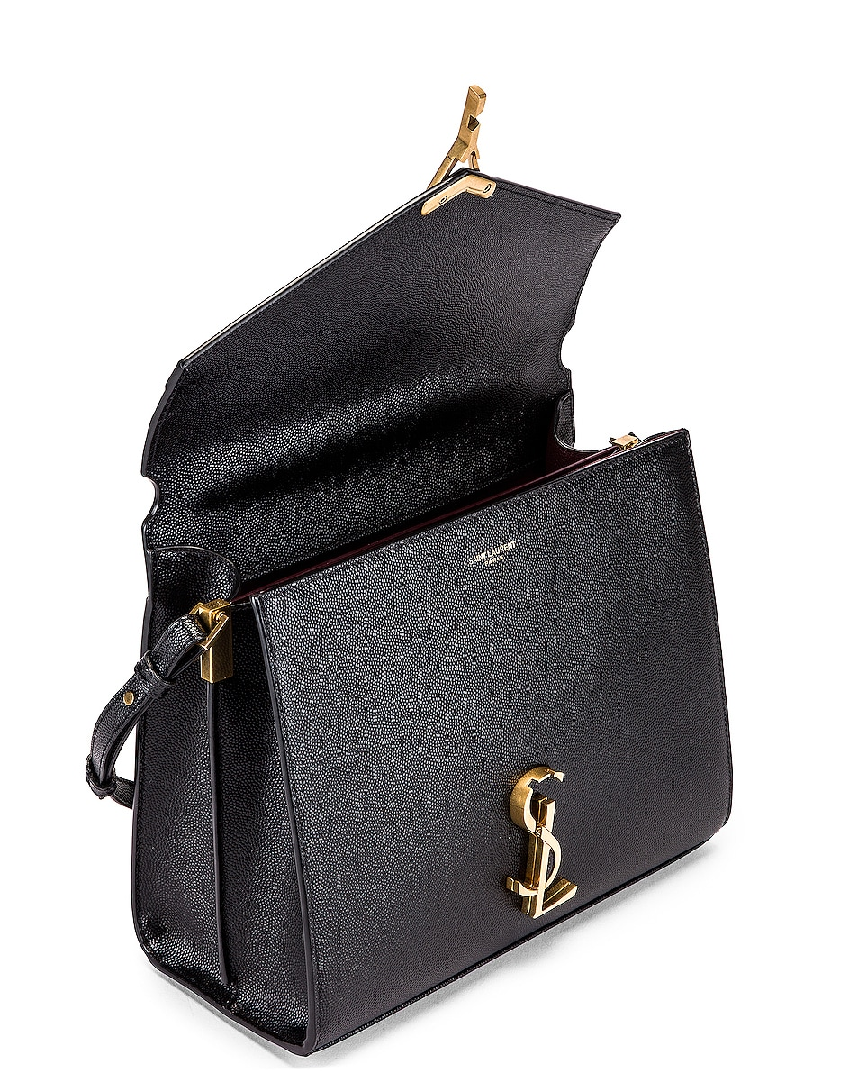 Image 4 of Saint Laurent Medium Monogramme Cassandra Shoulder Bag in Black & Rouge Legion