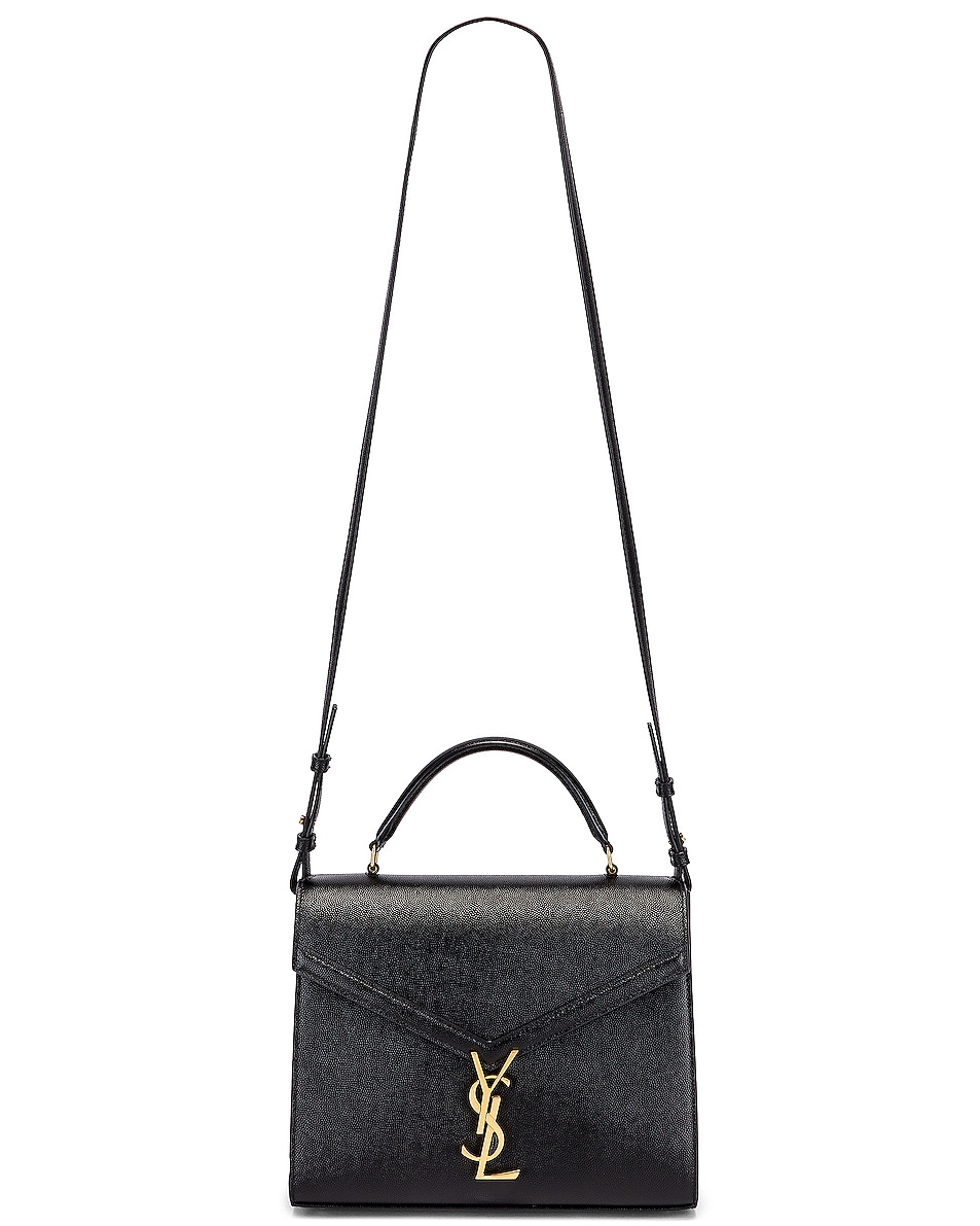 Image 5 of Saint Laurent Medium Monogramme Cassandra Shoulder Bag in Black & Rouge Legion