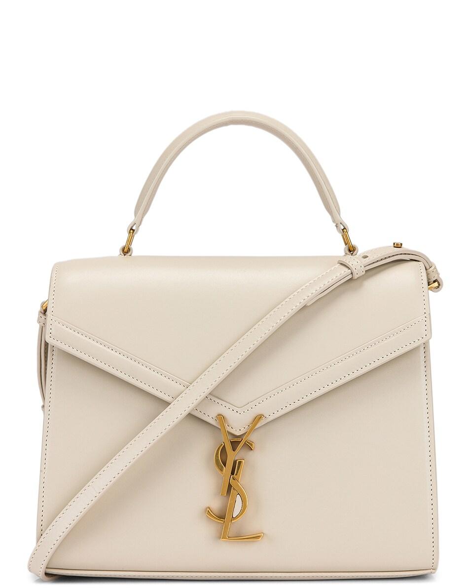 Image 1 of Saint Laurent Medium Monogramme Cassandra Shoulder Bag in Crema Soft & Rouge Legion