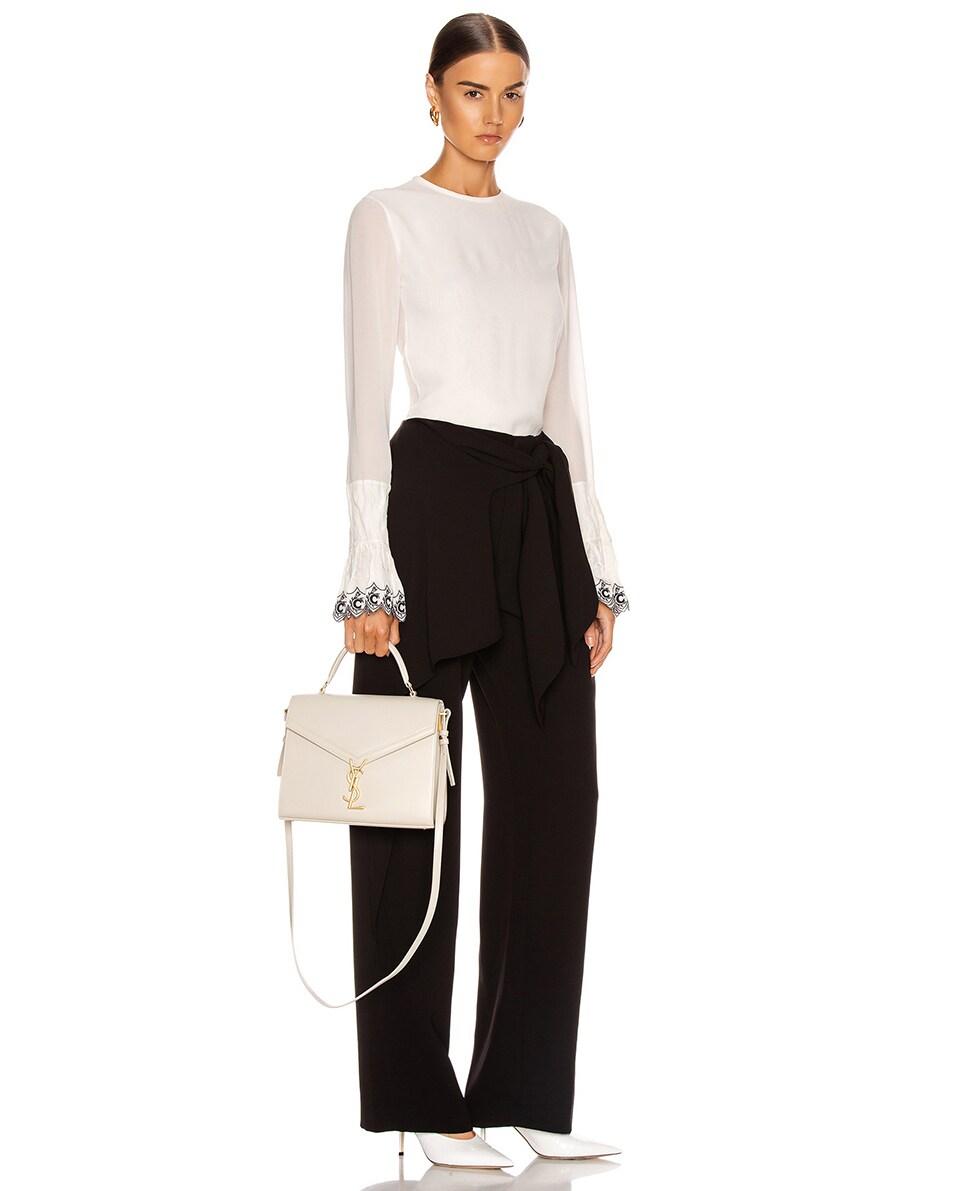 Image 2 of Saint Laurent Medium Monogramme Cassandra Shoulder Bag in Crema Soft & Rouge Legion