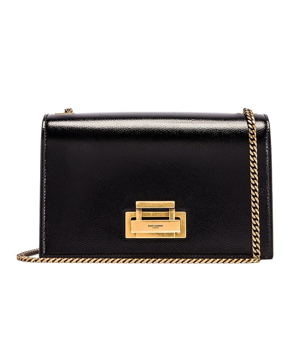 Image 1 of Saint Laurent Fermoir Art Deco Leather Crossbody Chain Bag in Black
