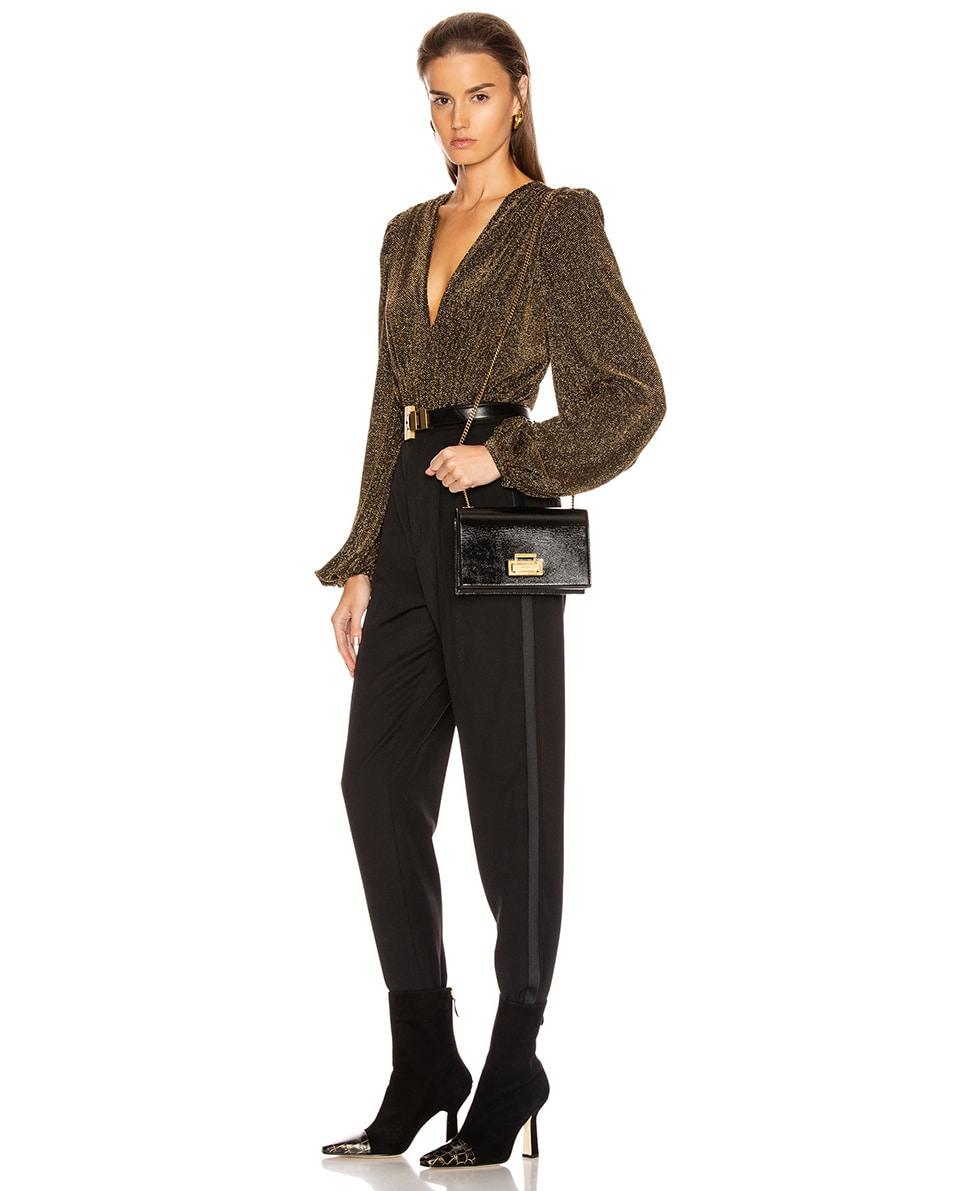 Image 2 of Saint Laurent Fermoir Art Deco Leather Crossbody Chain Bag in Black