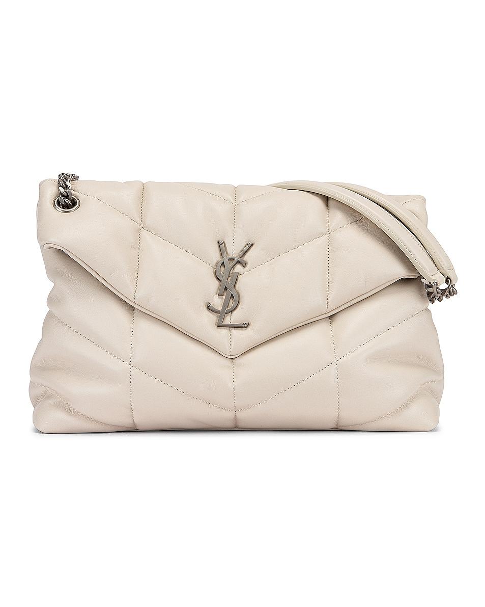 Image 1 of Saint Laurent Medium Monogramme Puffer Loulou Shoulder Bag in Crema Soft