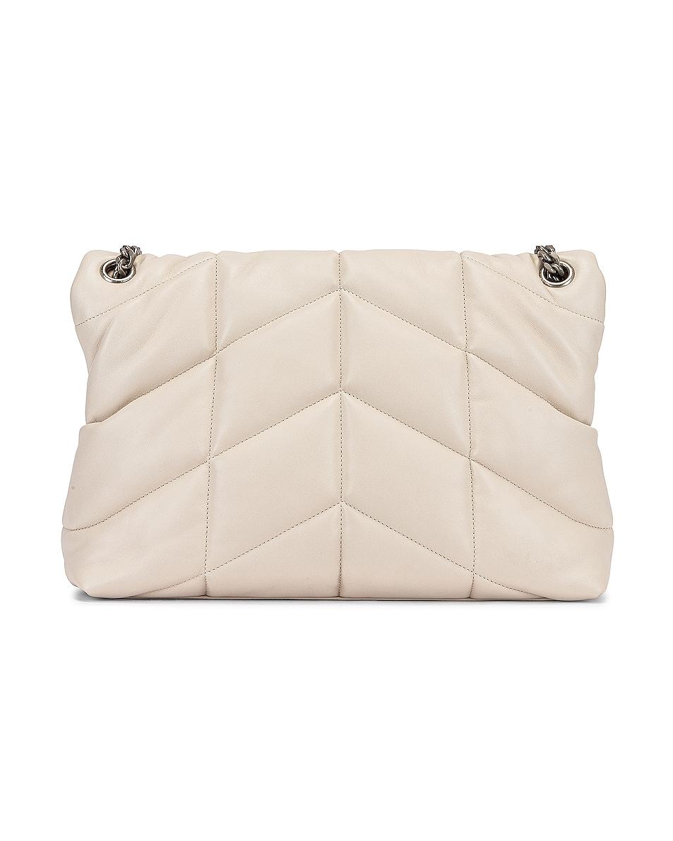Image 3 of Saint Laurent Medium Monogramme Puffer Loulou Shoulder Bag in Crema Soft