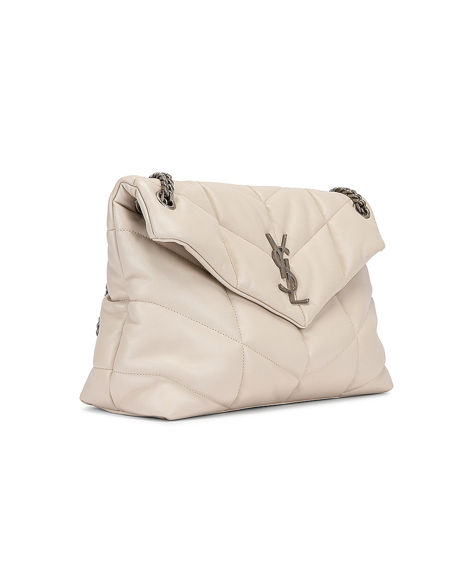 Image 4 of Saint Laurent Medium Monogramme Puffer Loulou Shoulder Bag in Crema Soft