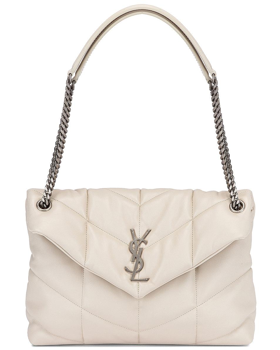 Image 6 of Saint Laurent Medium Monogramme Puffer Loulou Shoulder Bag in Crema Soft