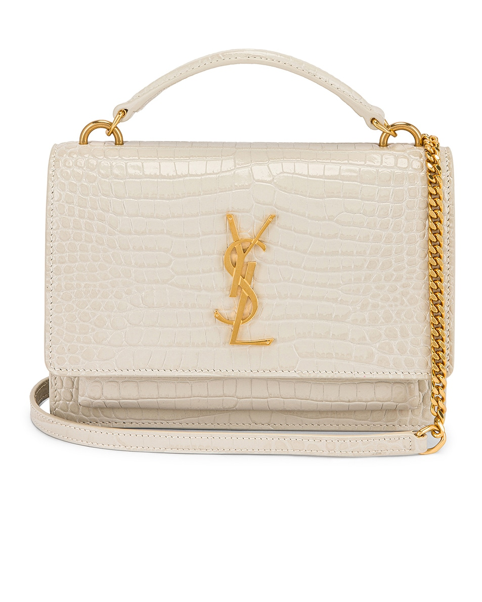 Image 1 of Saint Laurent Sunset Embossed Croc Monogramme Bag in Crema Soft