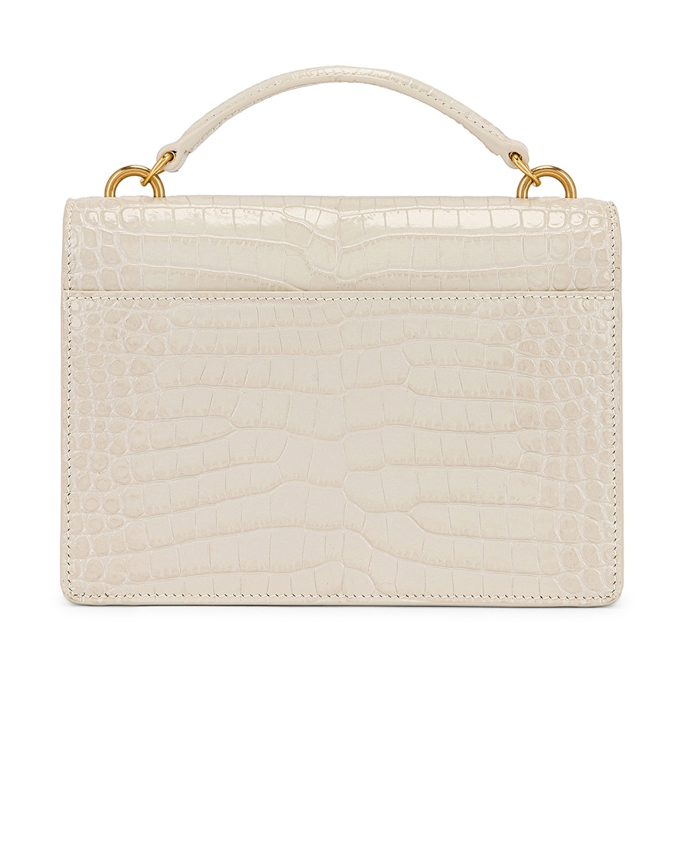 Image 2 of Saint Laurent Sunset Embossed Croc Monogramme Bag in Crema Soft