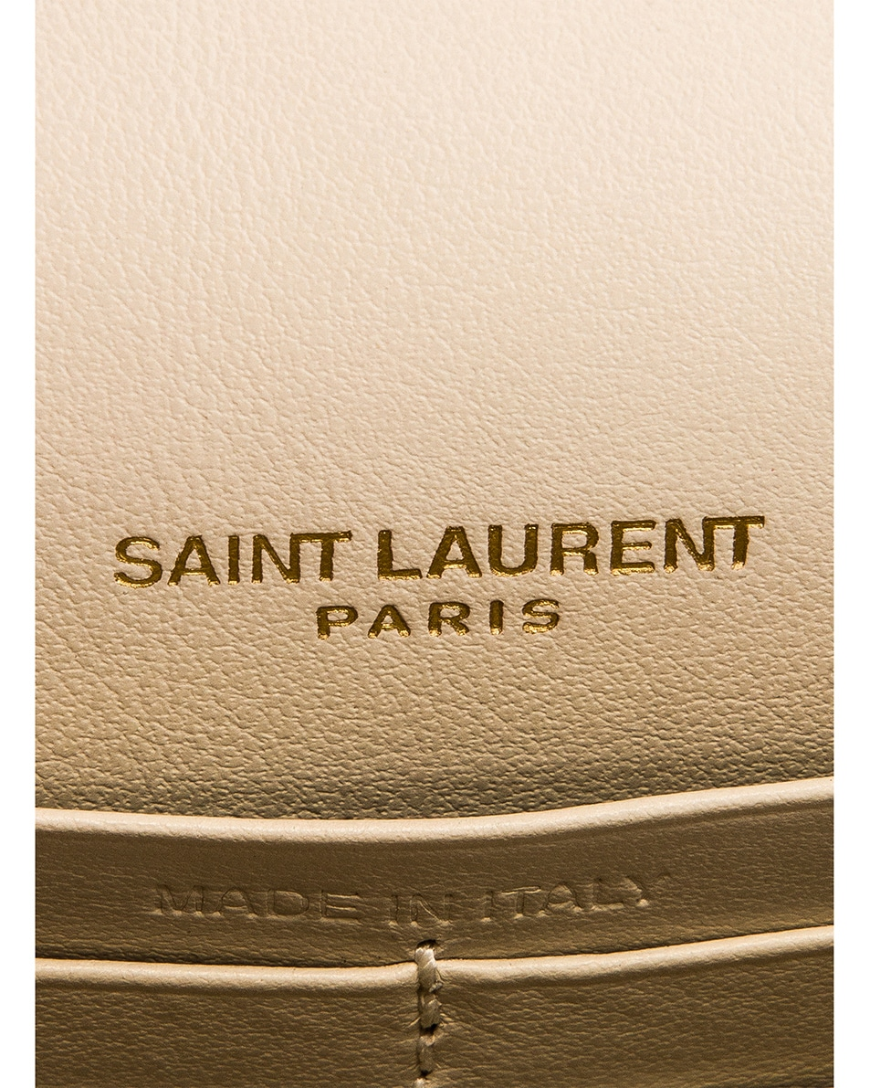 Image 6 of Saint Laurent Sunset Embossed Croc Monogramme Bag in Crema Soft