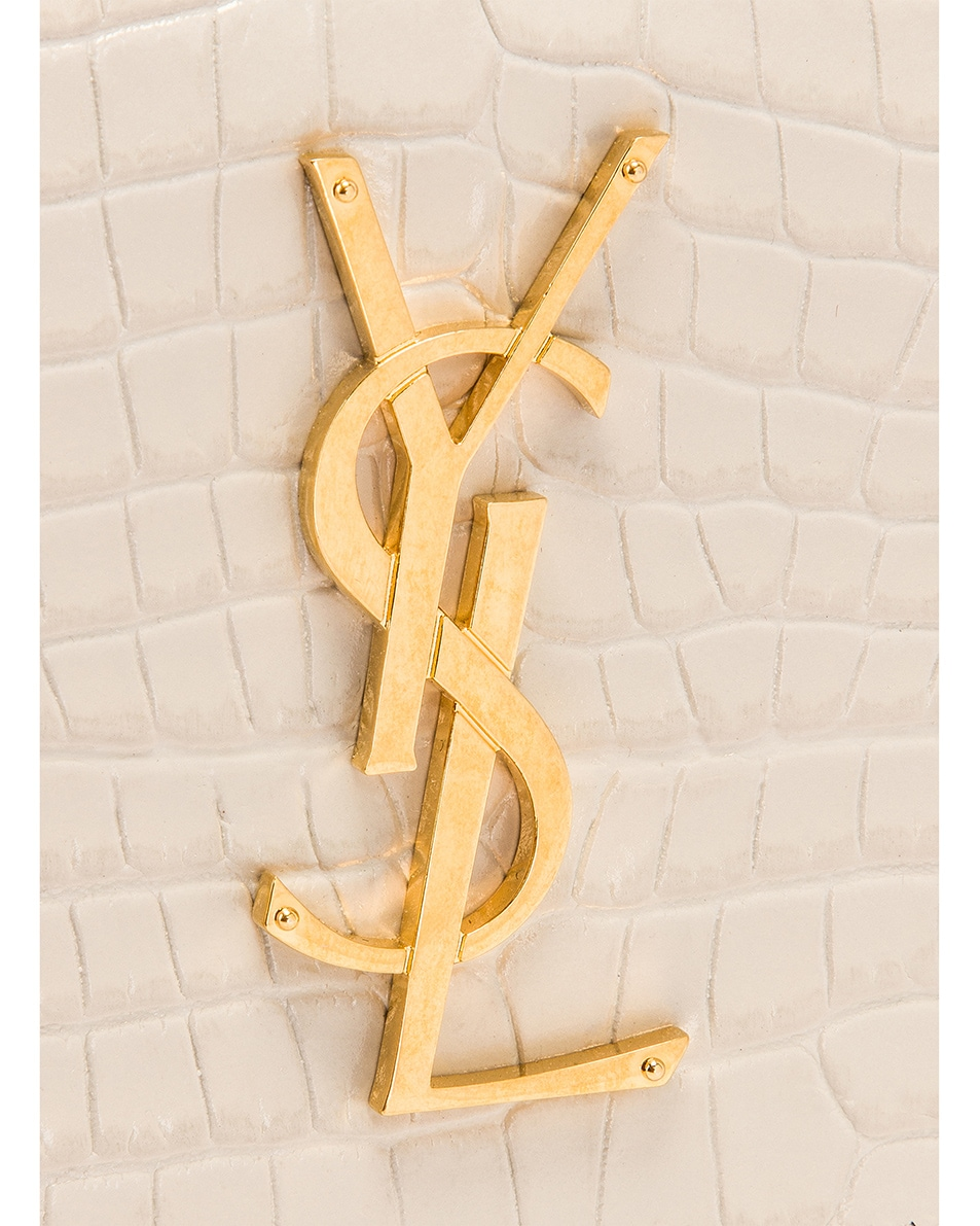 Image 7 of Saint Laurent Sunset Embossed Croc Monogramme Bag in Crema Soft