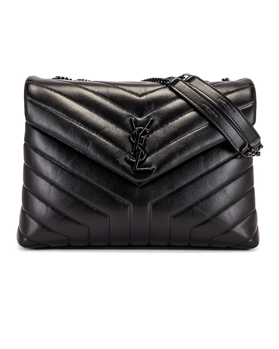 Image 1 of Saint Laurent Medium Supple Monogramme Loulou Chain Bag in Black & Black