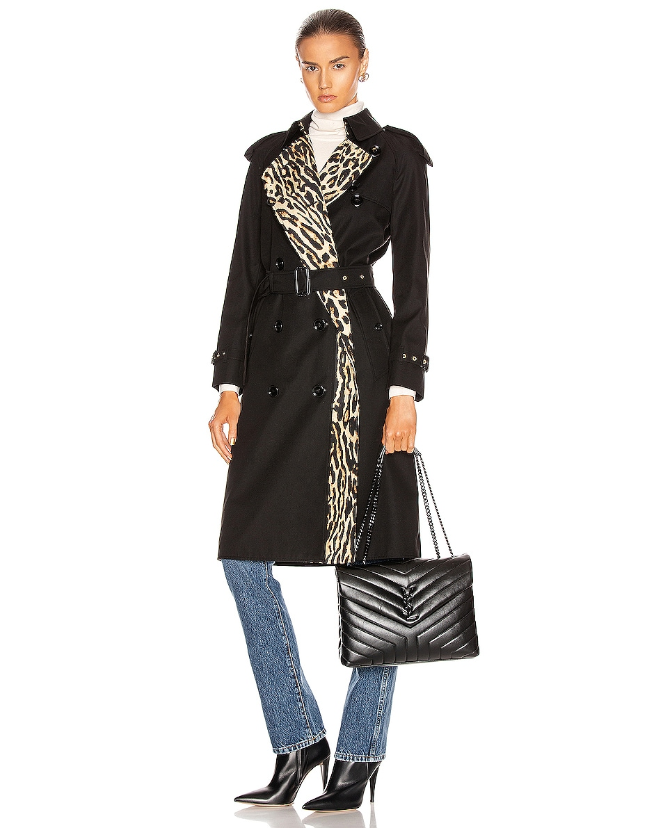 Image 2 of Saint Laurent Medium Supple Monogramme Loulou Chain Bag in Black & Black