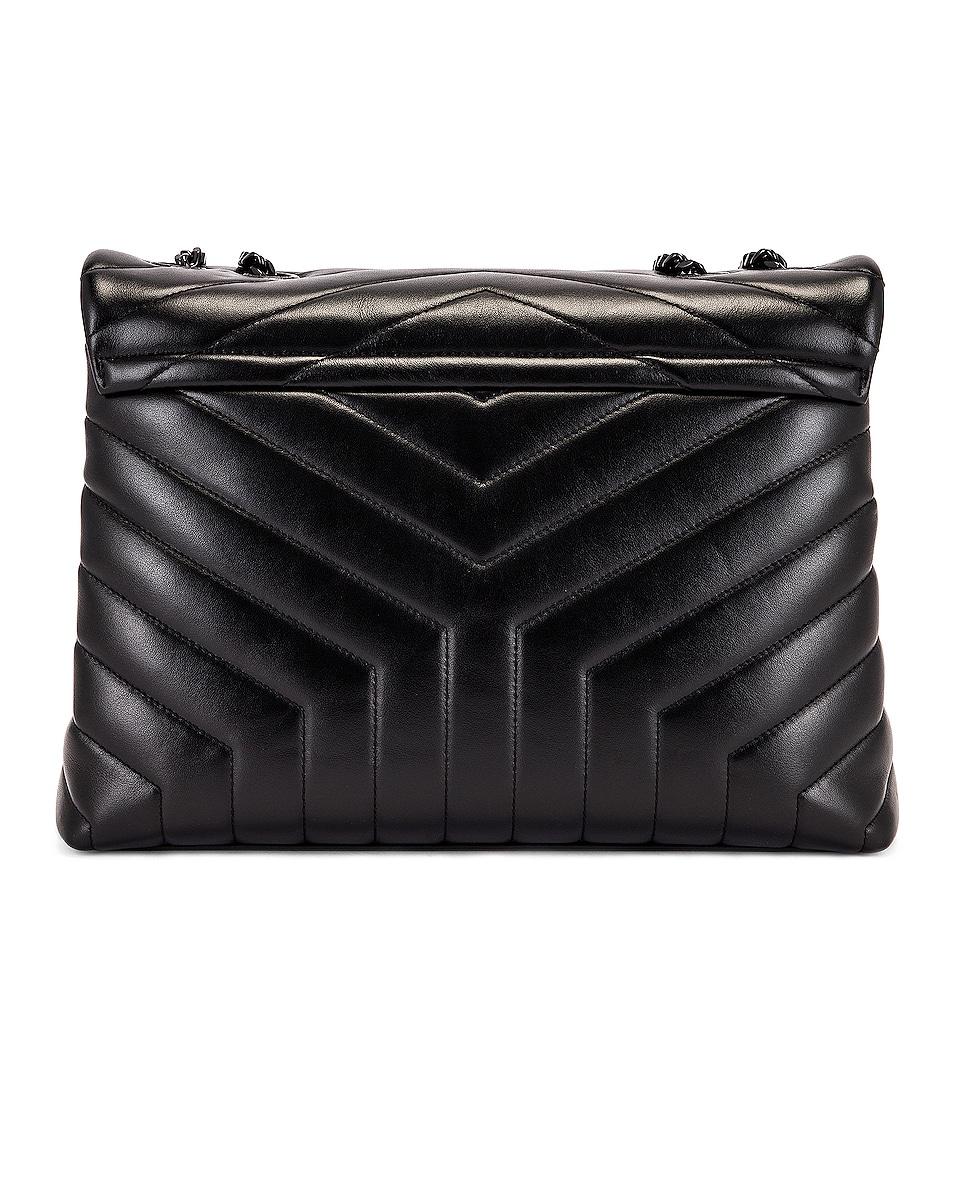 Image 3 of Saint Laurent Medium Supple Monogramme Loulou Chain Bag in Black & Black