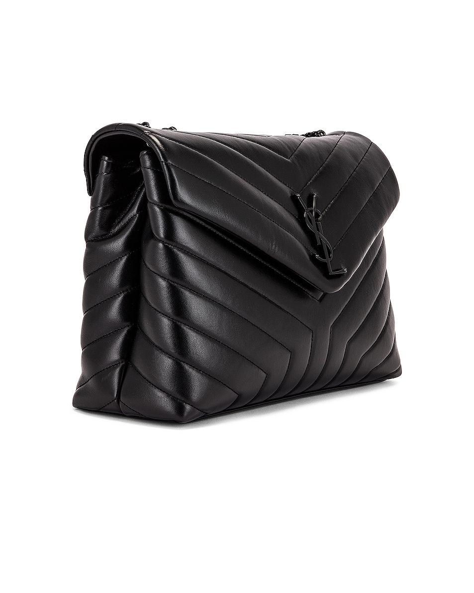 Image 4 of Saint Laurent Medium Supple Monogramme Loulou Chain Bag in Black & Black