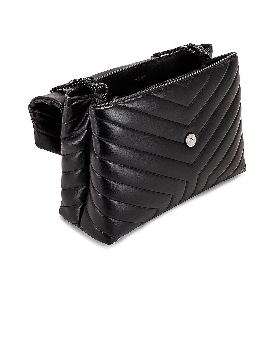 Image 5 of Saint Laurent Medium Supple Monogramme Loulou Chain Bag in Black & Black