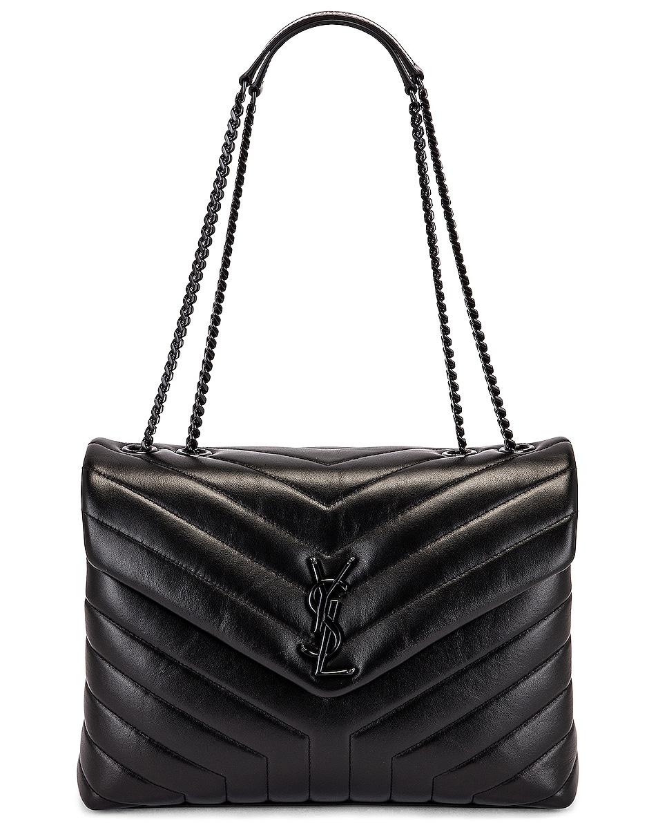 Image 6 of Saint Laurent Medium Supple Monogramme Loulou Chain Bag in Black & Black