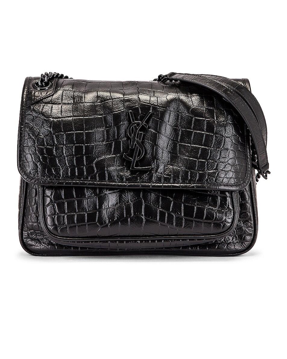 Image 1 of Saint Laurent Medium Niki Embossed Croc Monogramme Shoulder Bag in Black