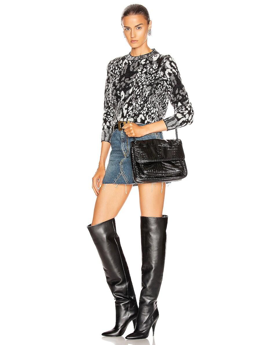 Image 2 of Saint Laurent Medium Niki Embossed Croc Monogramme Shoulder Bag in Black