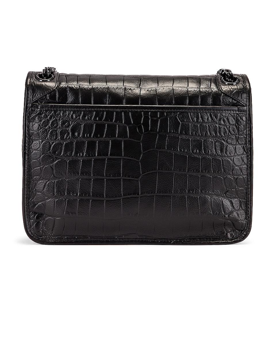 Image 3 of Saint Laurent Medium Niki Embossed Croc Monogramme Shoulder Bag in Black