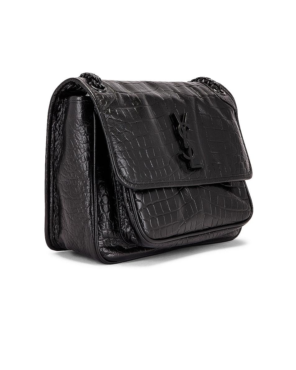 Image 4 of Saint Laurent Medium Niki Embossed Croc Monogramme Shoulder Bag in Black