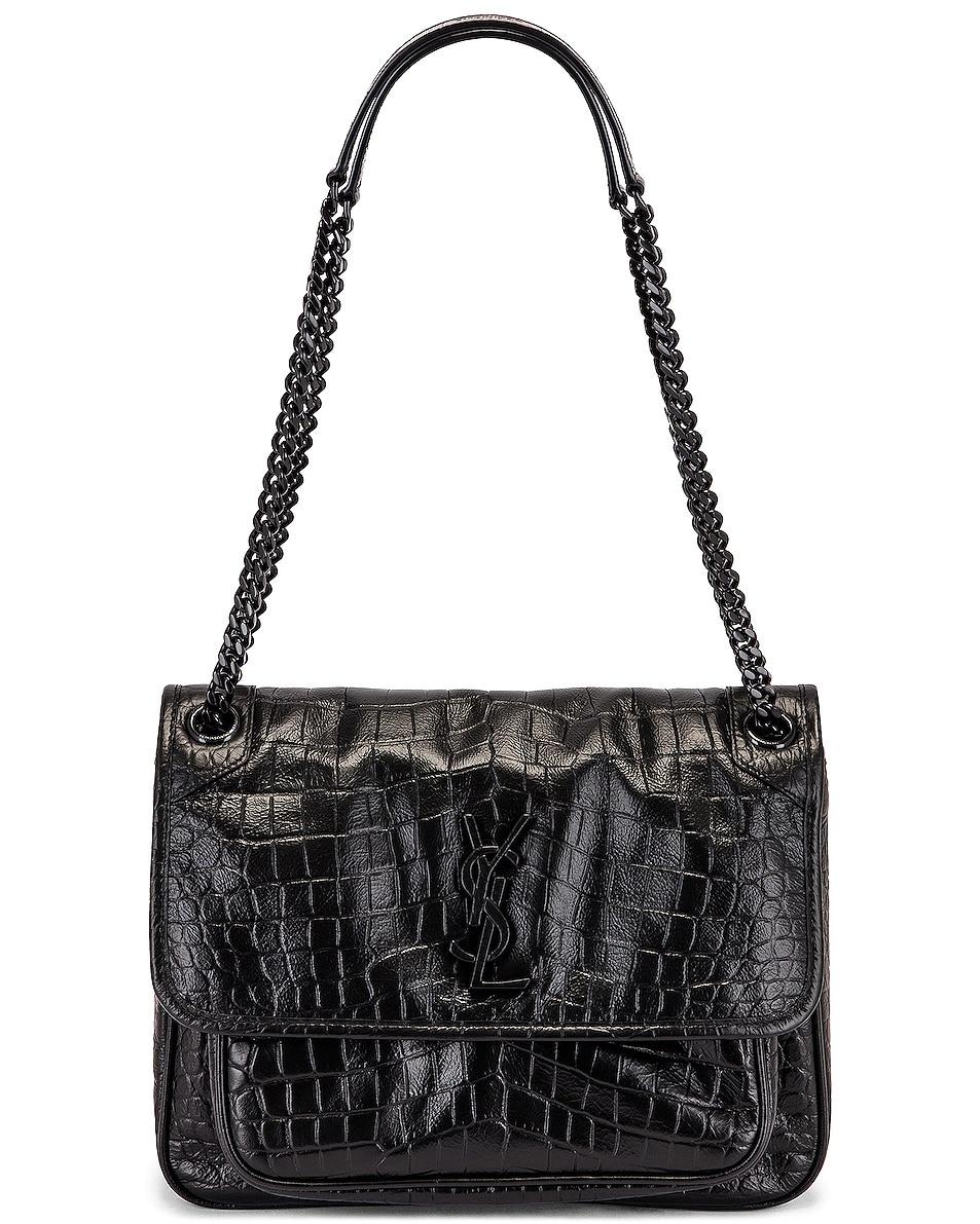 Image 6 of Saint Laurent Medium Niki Embossed Croc Monogramme Shoulder Bag in Black