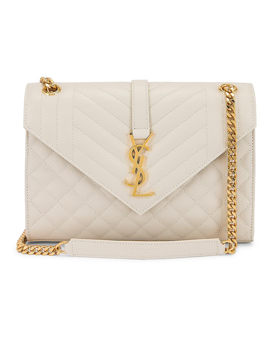 Saint Laurent Medium Monogramme Satchel Bag In Crema Soft