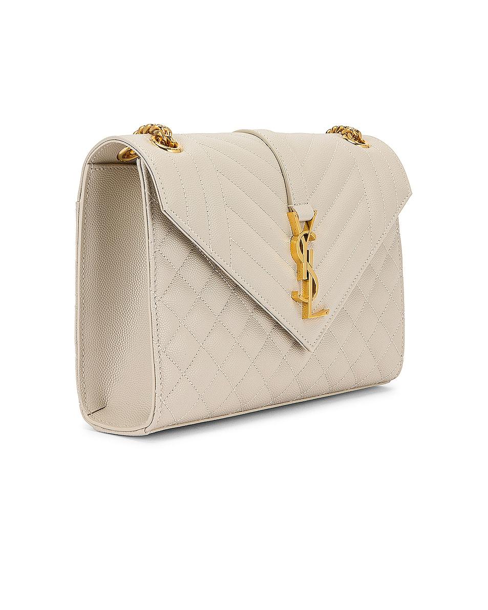 Image 4 of Saint Laurent Medium Monogramme Satchel Bag in Crema Soft