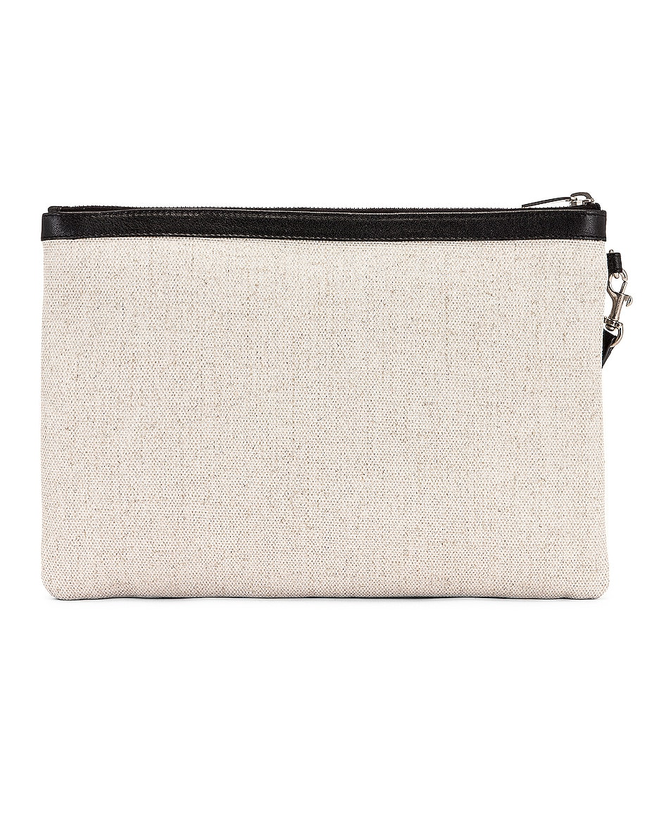 Image 3 of Saint Laurent Monogramme Pouch in White & Black