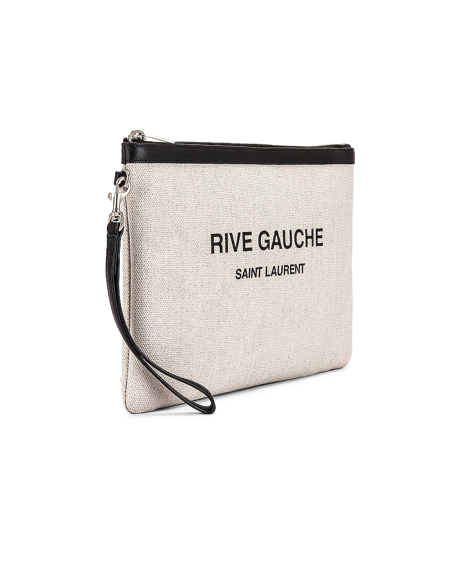 Image 4 of Saint Laurent Monogramme Pouch in White & Black