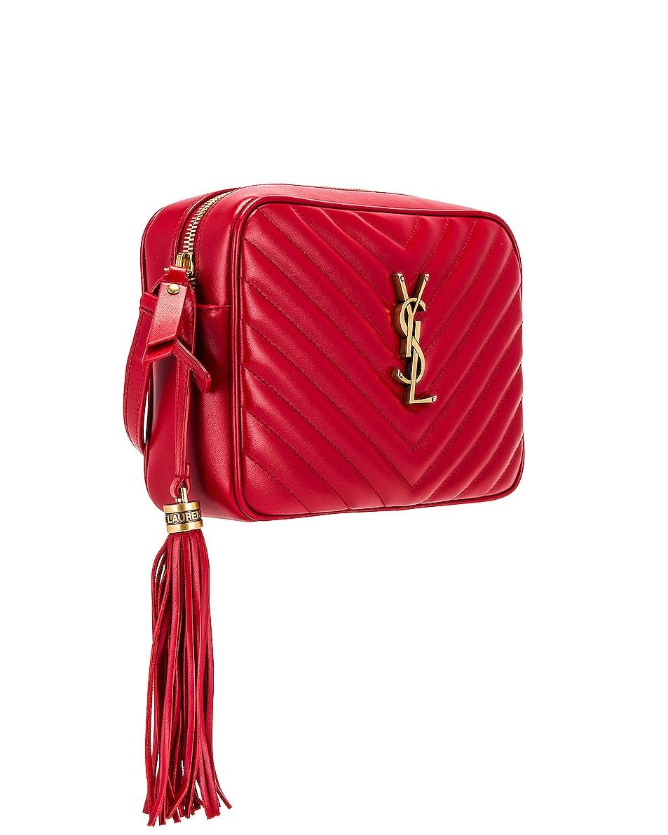 Image 4 of Saint Laurent Medium Lou Monogramme Bag in Rouge Eros