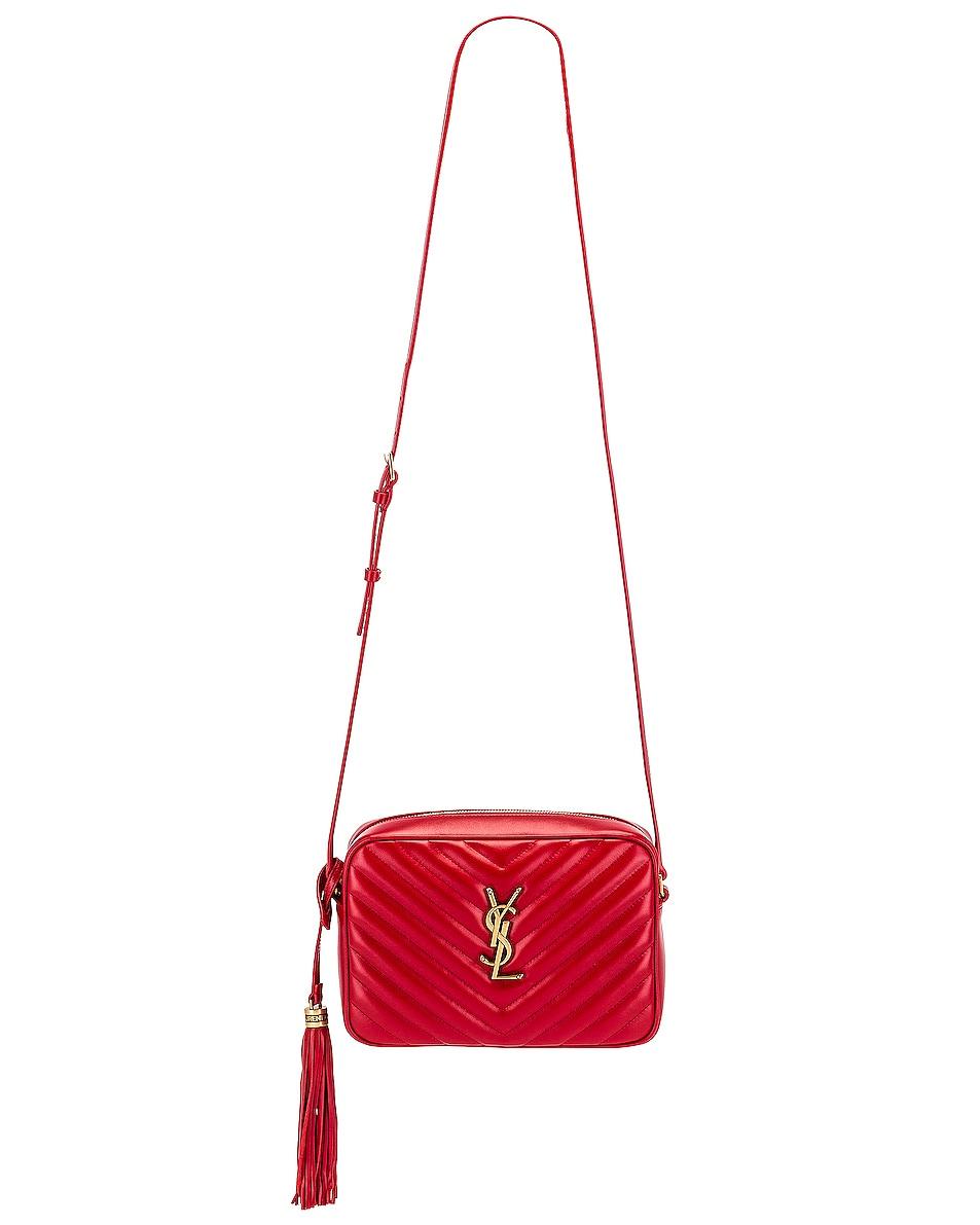 Image 6 of Saint Laurent Medium Lou Monogramme Bag in Rouge Eros