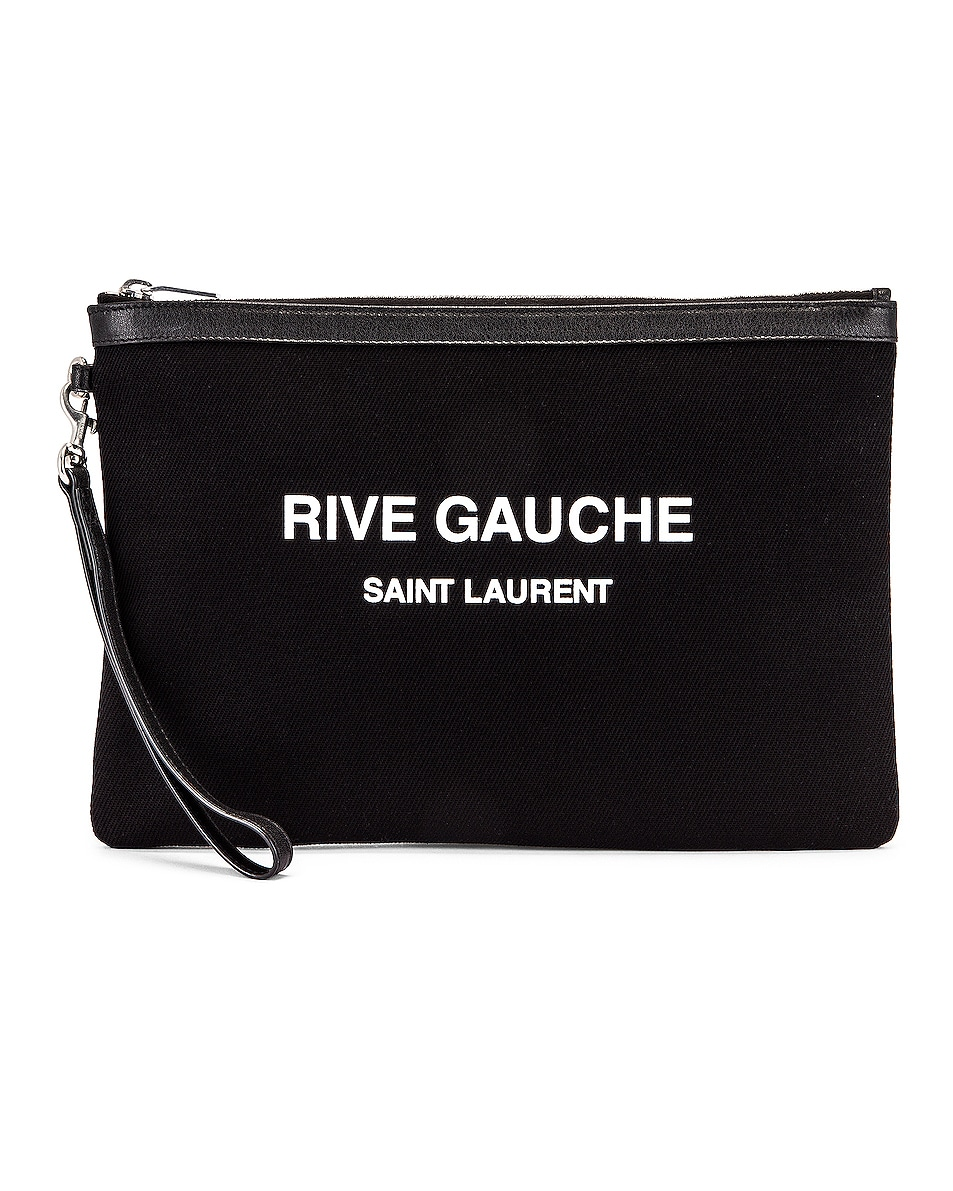 Image 1 of Saint Laurent Monogramme Pouch in Black & White