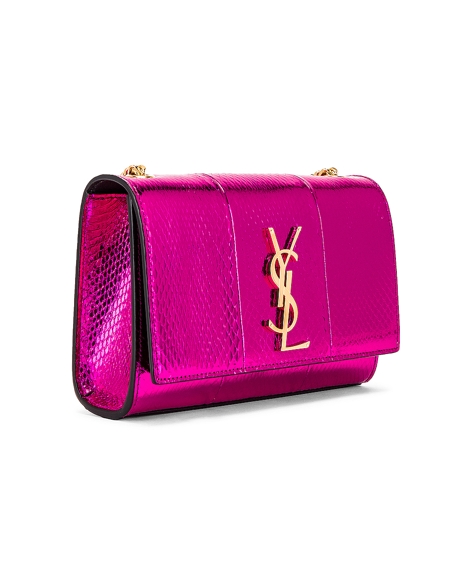 Image 4 of Saint Laurent Small Kate Bag in Shiny Fuchsia