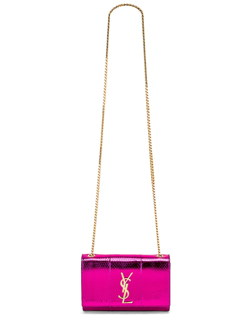 Image 6 of Saint Laurent Small Kate Bag in Shiny Fuchsia