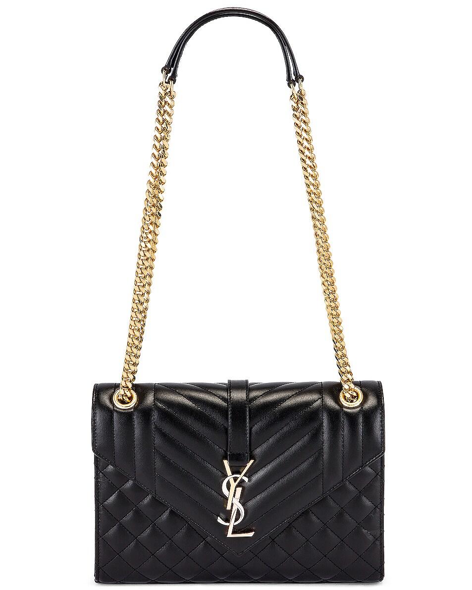 Image 6 of Saint Laurent Medium Envelope Monogramme Satchel Bag in Black