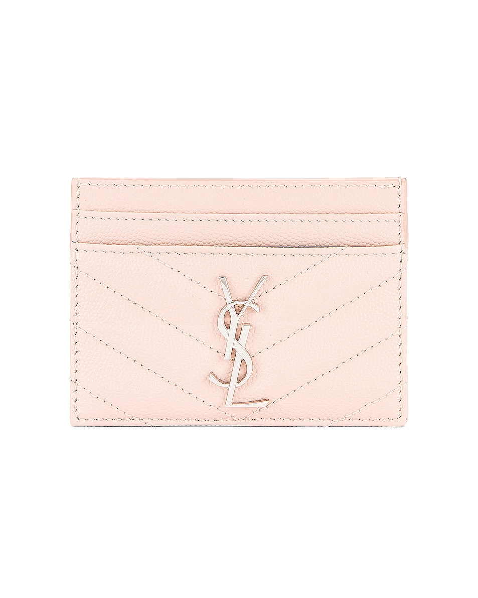 Image 1 of Saint Laurent Monogramme Credit Card Case in Marble Pink